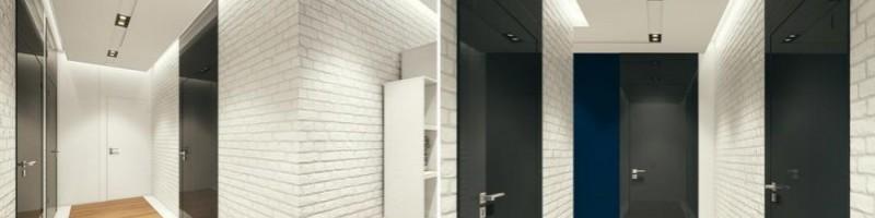 Biała cegła w korytarzu