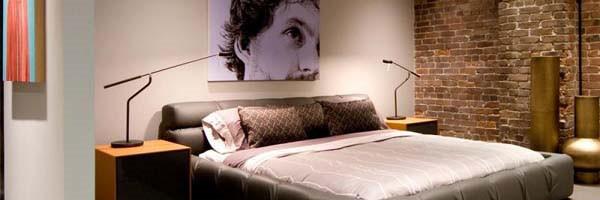 Rustykalna ściana w sypiali