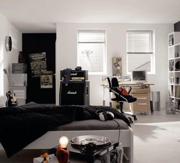 Białe i czarne meble w pokoju dla młodzieży